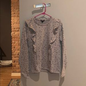 J Crew Factory Star Print Ruffle Sweatshirt - S